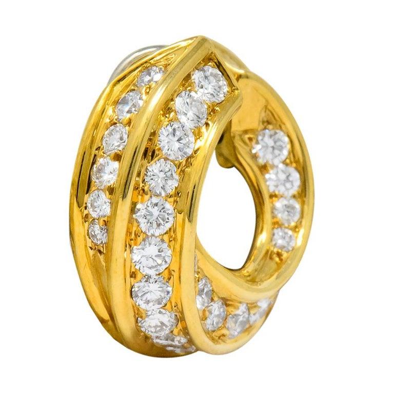 Contemporary Tiffany & Co. Vintage 3.48 Carat Diamond 18 Karat Gold Hoop Swirl Earrings For Sale