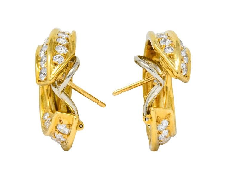 Round Cut Tiffany & Co. Vintage 3.48 Carat Diamond 18 Karat Gold Hoop Swirl Earrings For Sale