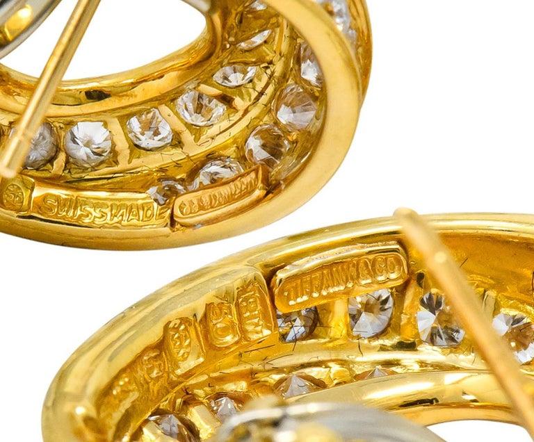 Tiffany & Co. Vintage 3.48 Carat Diamond 18 Karat Gold Hoop Swirl Earrings In Excellent Condition For Sale In Philadelphia, PA
