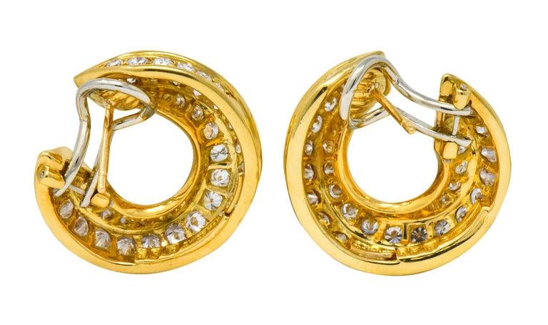 Tiffany & Co. Vintage 3.48 Carat Diamond 18 Karat Gold Hoop Swirl Earrings For Sale 1