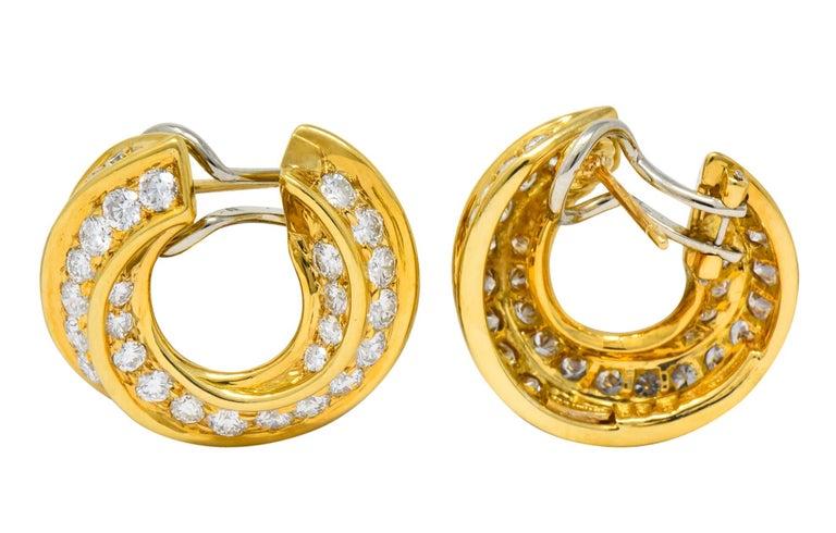 Tiffany & Co. Vintage 3.48 Carat Diamond 18 Karat Gold Hoop Swirl Earrings For Sale 2