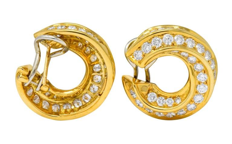 Tiffany & Co. Vintage 3.48 Carat Diamond 18 Karat Gold Hoop Swirl Earrings For Sale 3