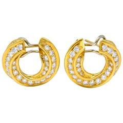 Tiffany & Co. Vintage 3.48 Carat Diamond 18 Karat Gold Hoop Swirl Earrings