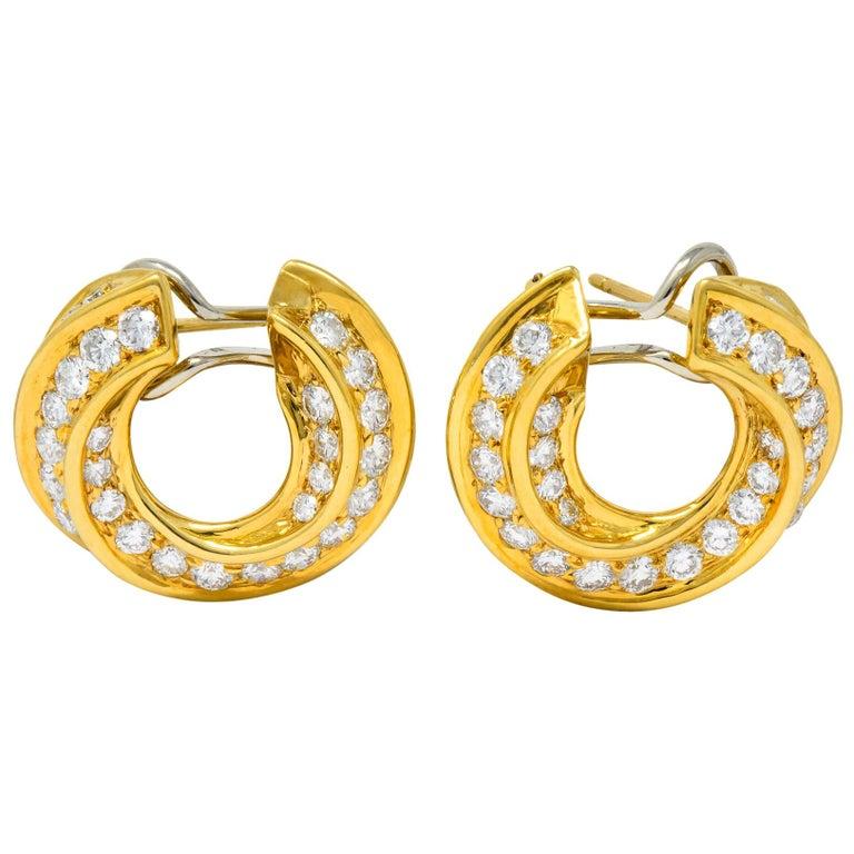 Tiffany & Co. Vintage 3.48 Carat Diamond 18 Karat Gold Hoop Swirl Earrings For Sale