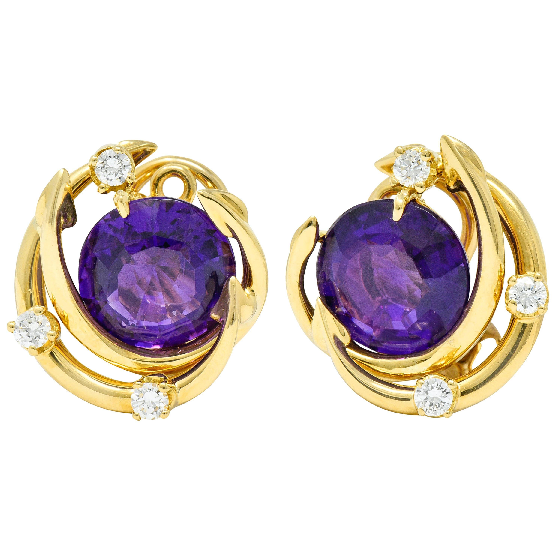 Tiffany & Co. Vintage Amethyst Diamond 18 Karat Gold Ear-Clip Earrings