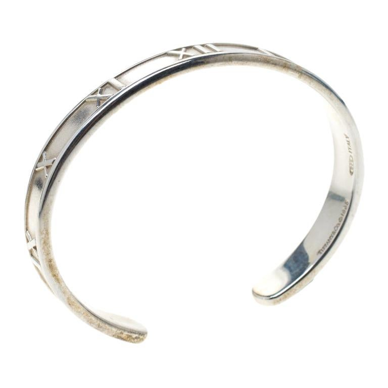 Tiffany And Co Vintage Atlas Silver Open Cuff Bracelet 15 Cm For Sale At 1stdibs