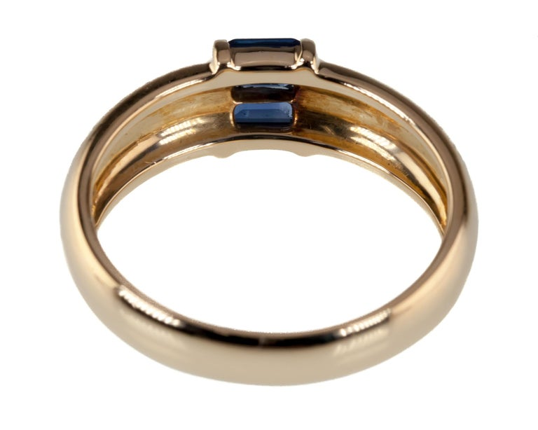 Women's Tiffany & Co. Vintage Baguette Sapphire Ring in Yellow Gold with Box For Sale