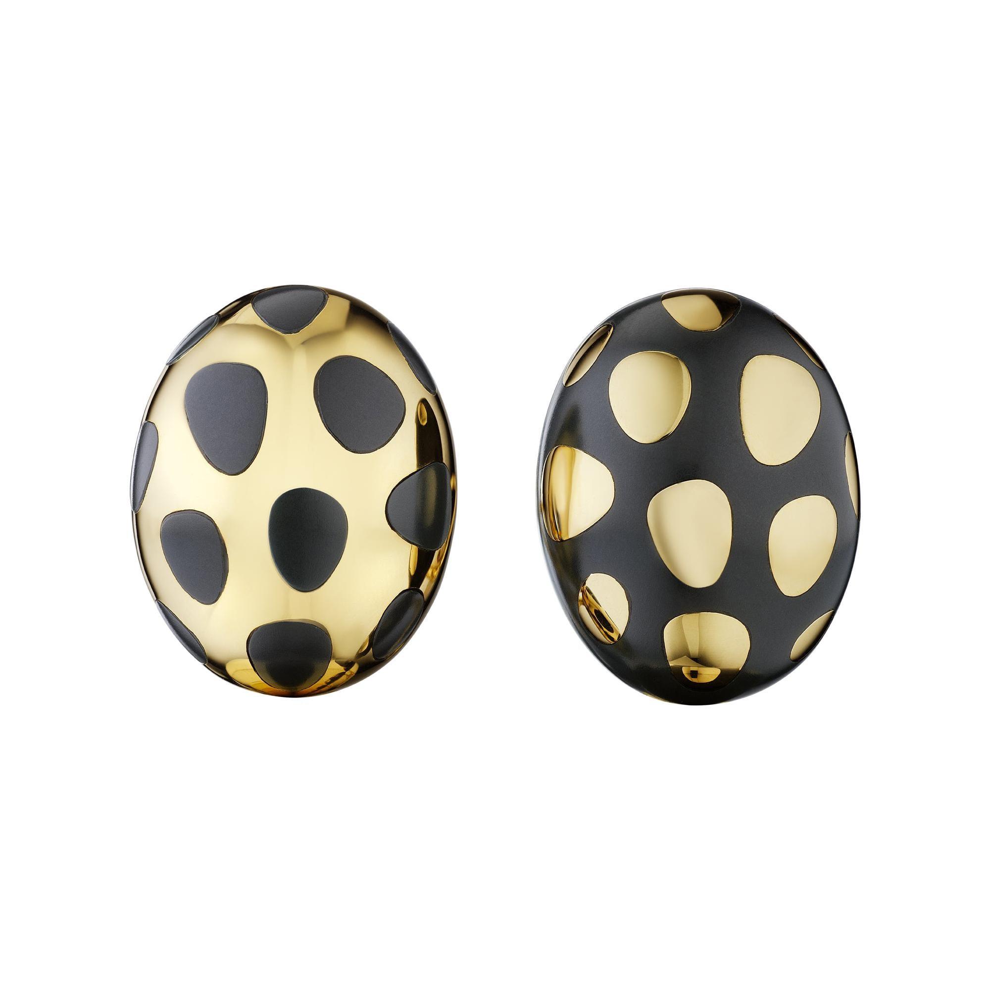 Tiffany & Co. Vintage Black Jade Gold Earrings