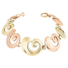 Tiffany & Co. Vintage Bracelet 14k Rose & Yellow Gold Swirl Snail Shell Signed