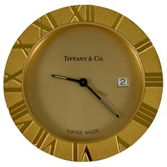 Tiffany & Co. Vintage Brass Atlas Travel Alarm Clock with Sleeper Pouch and Box