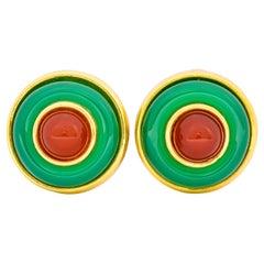 Tiffany & Co. Vintage Carnelian Chrysoprase Circular Cabochon Ear-Clip Earrings