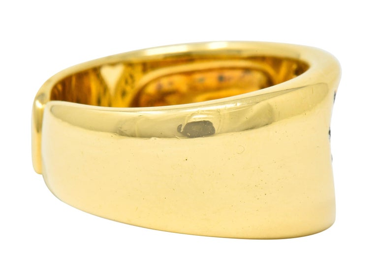 Contemporary Tiffany & Co. Vintage Diamond 18 Karat Gold Open Heart Band Ring For Sale