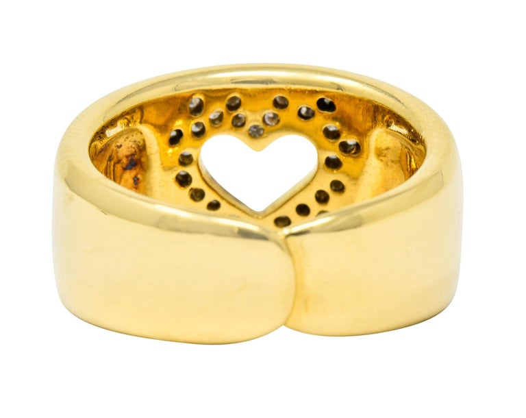 Round Cut Tiffany & Co. Vintage Diamond 18 Karat Gold Open Heart Band Ring For Sale