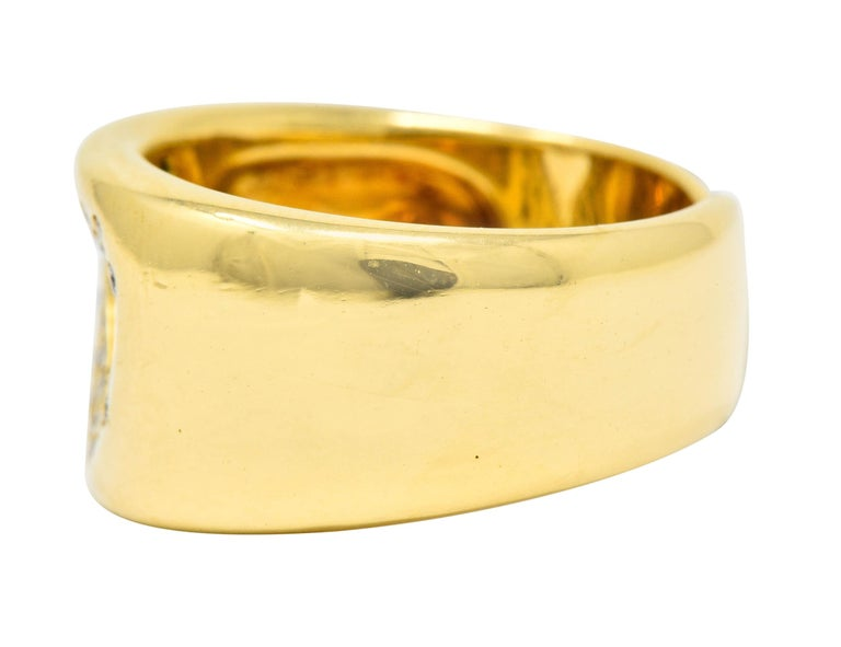 Tiffany & Co. Vintage Diamond 18 Karat Gold Open Heart Band Ring In Excellent Condition For Sale In Philadelphia, PA