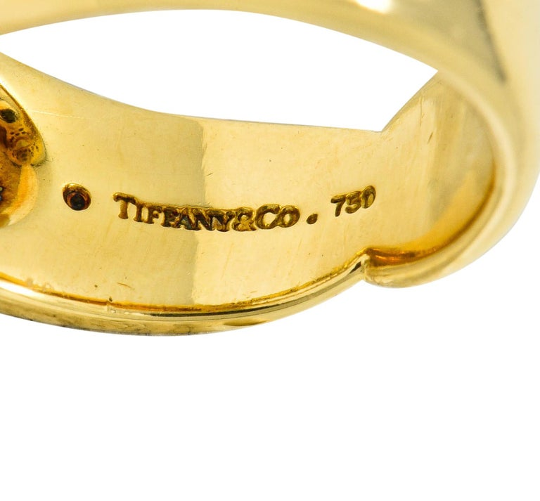 Tiffany & Co. Vintage Diamond 18 Karat Gold Open Heart Band Ring For Sale 1