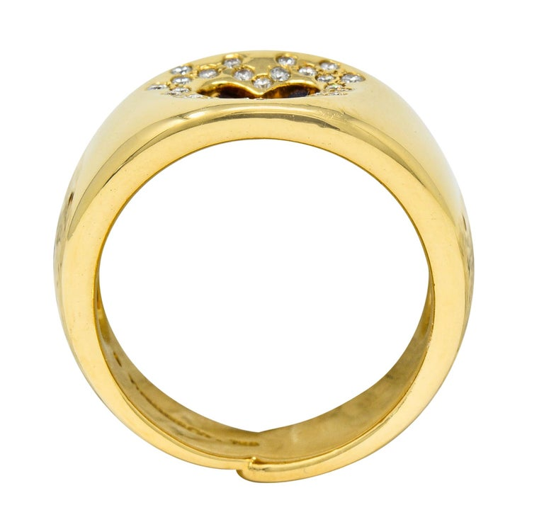 Tiffany & Co. Vintage Diamond 18 Karat Gold Open Heart Band Ring For Sale 2