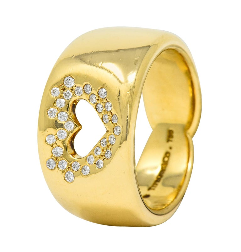 Tiffany & Co. Vintage Diamond 18 Karat Gold Open Heart Band Ring For Sale 3