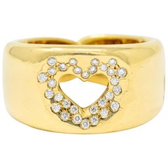 Tiffany & Co. Vintage Diamond 18 Karat Gold Open Heart Band Ring