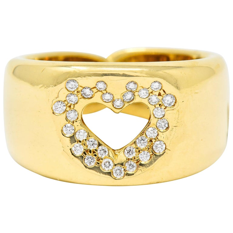 Tiffany & Co. Vintage Diamond 18 Karat Gold Open Heart Band Ring For Sale