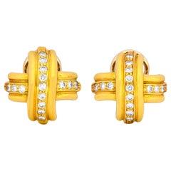 Tiffany & Co. Vintage Diamond 18 Karat Gold Signature X Ear-Clips Earrings