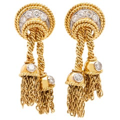 Tiffany & Co. Vintage Diamond 18 Karat Gold Tassel Earrings