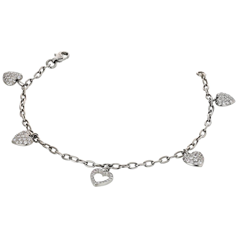 Tiffany & Co Vintage Diamond Heart Chain Charm Platinum Bracelet