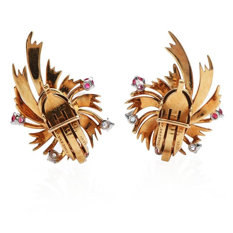 Retro Tiffany & Co. Vintage Diamond Ruby 18K Gold Swirl Flower Clip-On Earrings For Sale