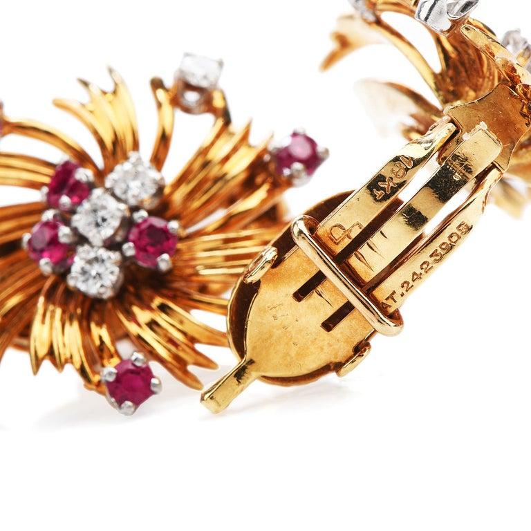 Round Cut Tiffany & Co. Vintage Diamond Ruby 18K Gold Swirl Flower Clip-On Earrings For Sale