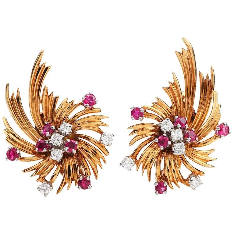 Tiffany & Co. Vintage Diamond Ruby 18K Gold Swirl Flower Clip-On Earrings For Sale
