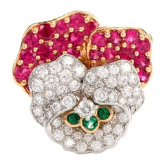 Tiffany & Co. Vintage Diamond Ruby Rose Flower Gold Platinum Brooch Pin