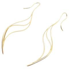 Tiffany & Co Vintage Elsa Peretti Wave Leaf Yellow Gold Earrings