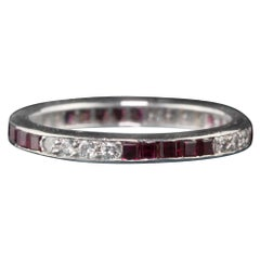 Tiffany & Co. Vintage Estate Platinum Diamond and Ruby Wedding Band