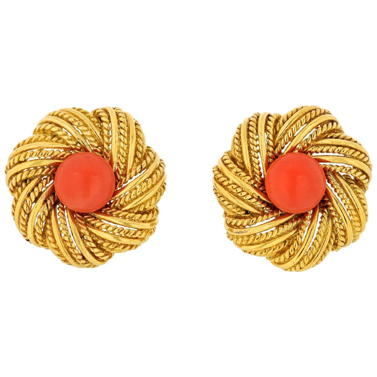 Tiffany & Co. Vintage Flower Coral Earrings