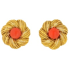 Tiffany & Co. Vintage Flower Coral Earrings