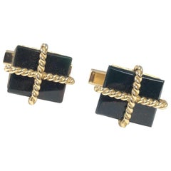 Tiffany & Co. Vintage Gold and Blood Stone Cufflinks