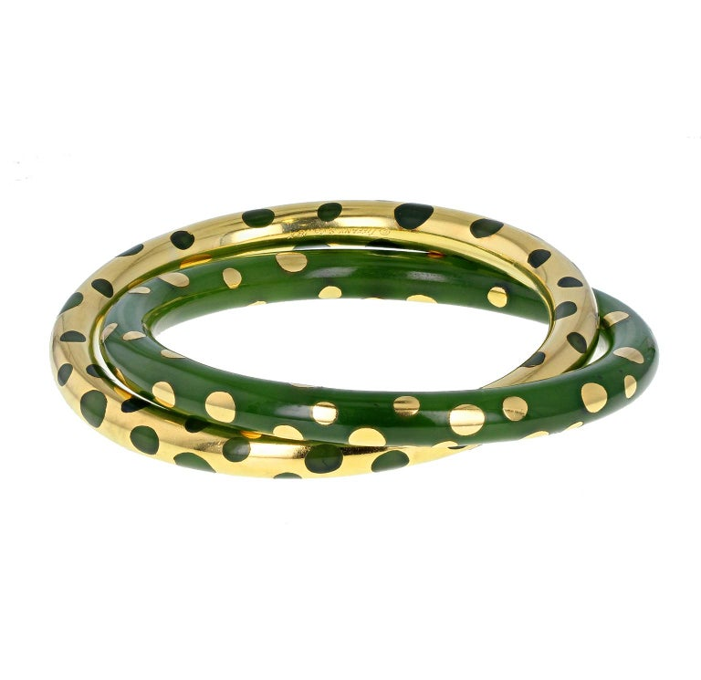 Tiffany & Co. Vintage Gold and Jadeite Double Bangle Bracelet For Sale 5