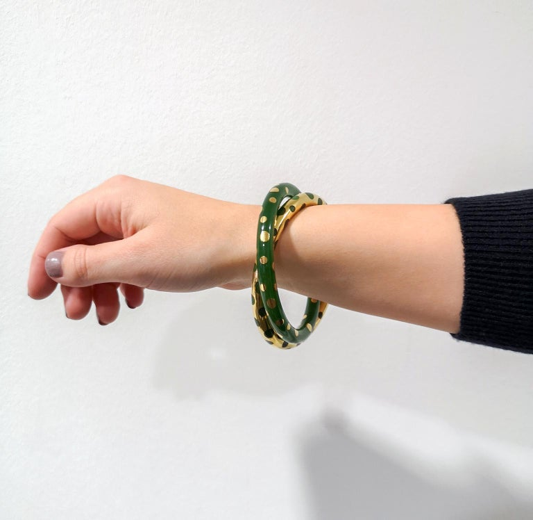 Tiffany & Co. Vintage Gold and Jadeite Double Bangle Bracelet For Sale 6