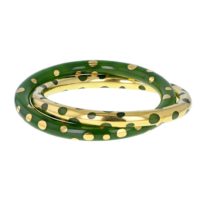 Tiffany & Co. Vintage Gold and Jadeite Double Bangle Bracelet For Sale 7