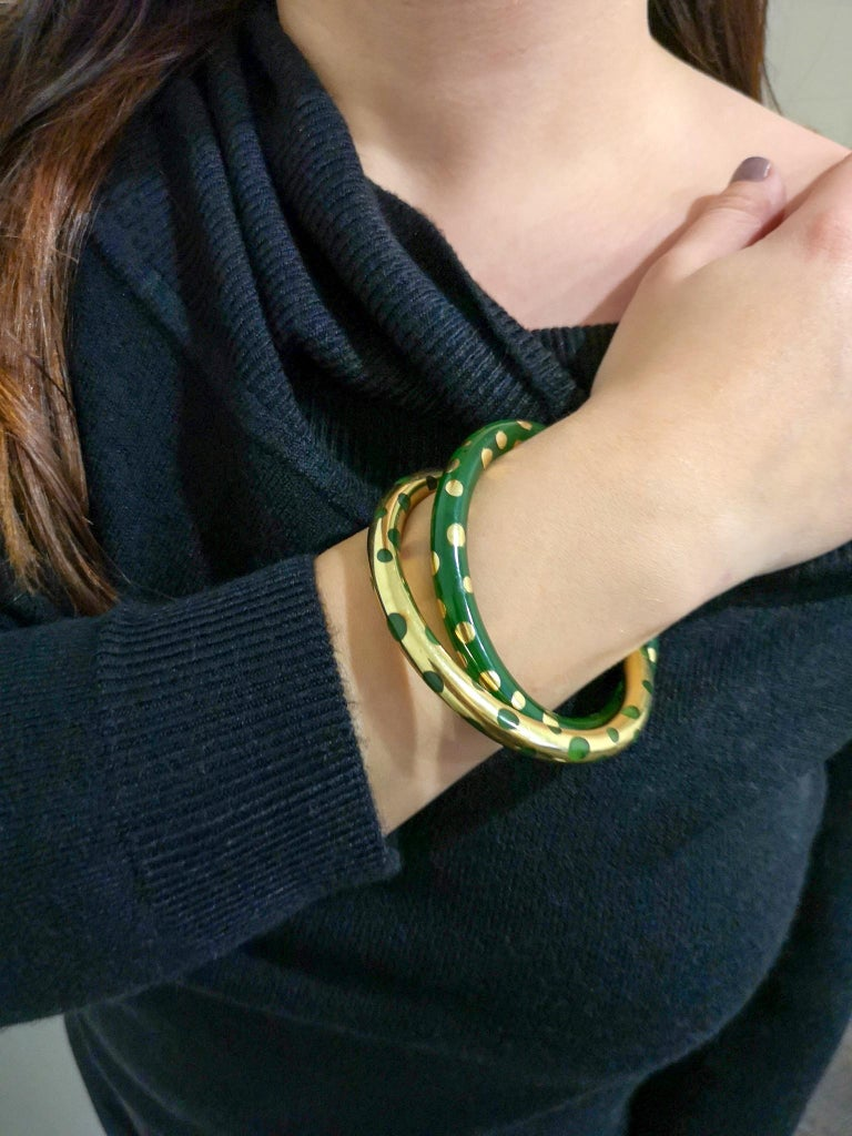 Tiffany & Co. Vintage Gold and Jadeite Double Bangle Bracelet For Sale 8