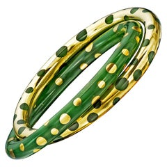 Tiffany & Co. Vintage Gold and Jadeite Double Bangle Bracelet