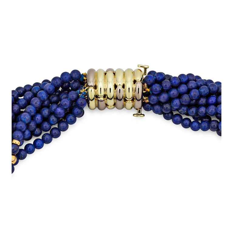 Contemporary Tiffany & Co. Vintage Gold Blue Lapis Bead Choker Necklace For Sale