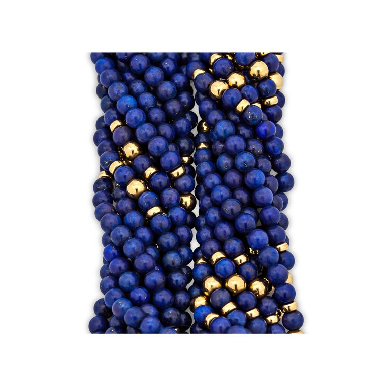 Round Cut Tiffany & Co. Vintage Gold Blue Lapis Bead Choker Necklace For Sale