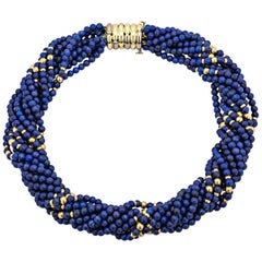 Tiffany & Co. Vintage Gold Blue Lapis Bead Choker Necklace