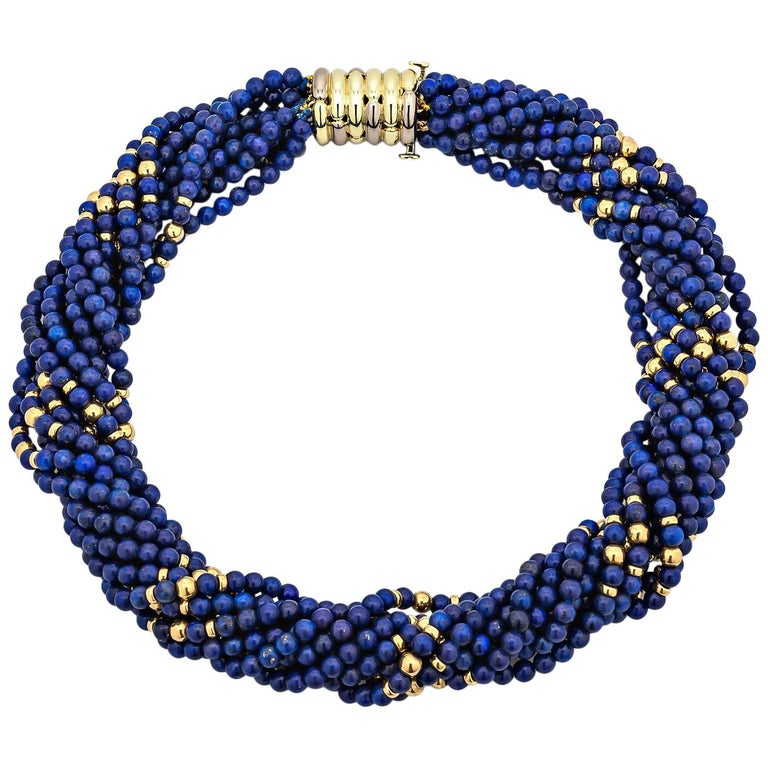 Tiffany & Co. Vintage Gold Blue Lapis Bead Choker Necklace For Sale