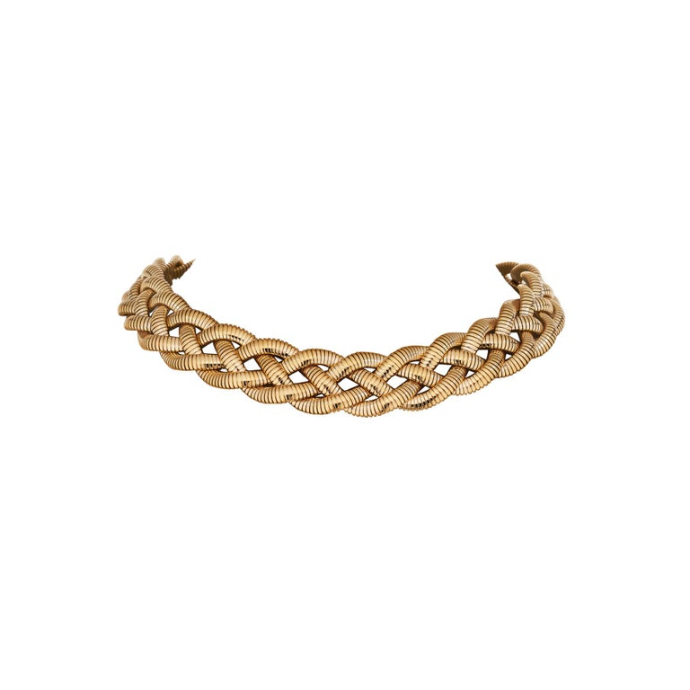Modern Tiffany & Co. Vintage Gold Braided Tubogas Necklace For Sale