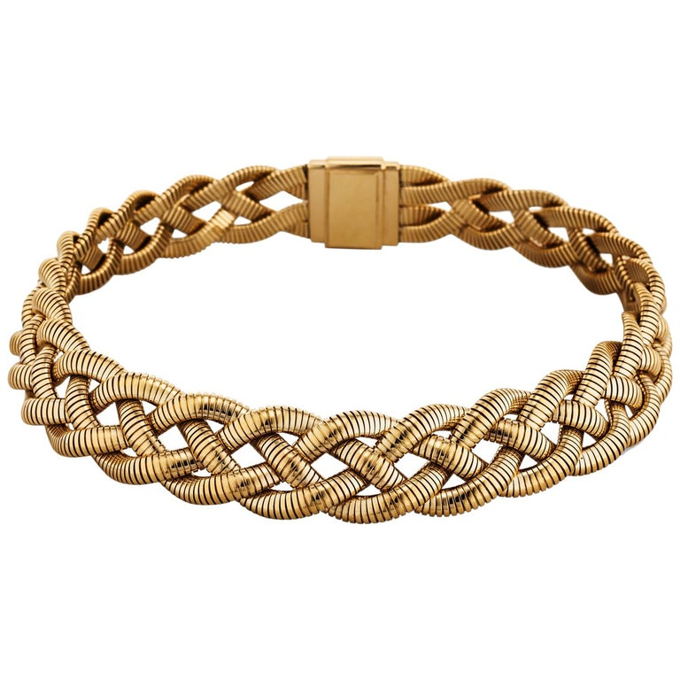 Tiffany & Co. Vintage Gold Braided Tubogas Necklace For Sale
