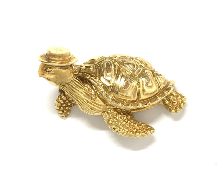 Tiffany & Co. Vintage Hammered Yellow Gold Sea Turtle Brooch Pin For Sale 6