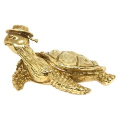 Tiffany & Co. Vintage Hammered Yellow Gold Sea Turtle Brooch Pin