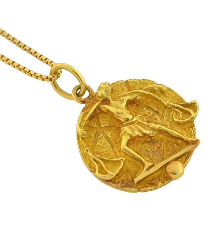4e39f6ebc4730 Tiffany & Co. Vintage Libra Zodiac Gold Pendant Necklace