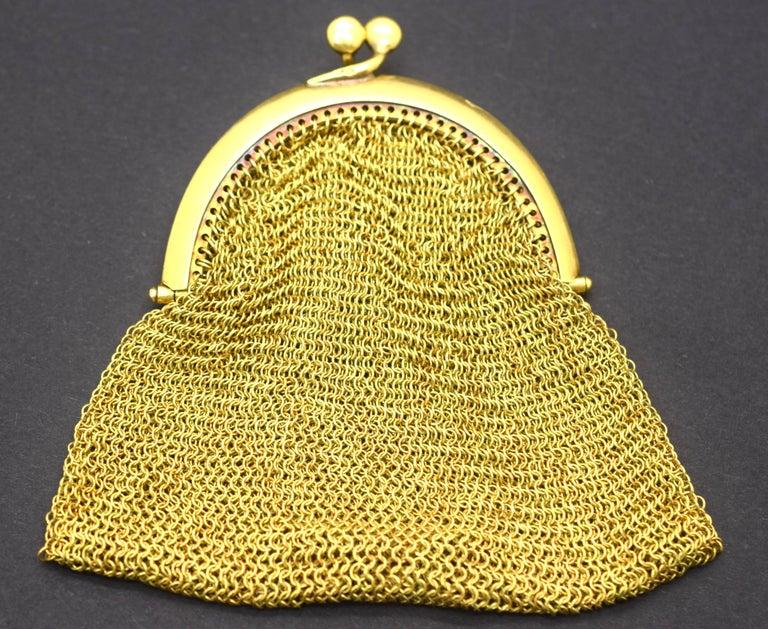 Retro Tiffany & Co. Vintage Mesh Purse 18 Karat Yellow Gold For Sale